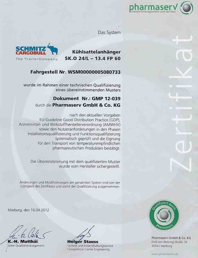 (GDP) Certification for Pharmaceuticals